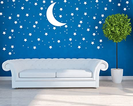 Star Moon Wall Decal - Star Art Moon Heart Wall Decal - Wall Art -  sc 1 st  Amazon.com & Amazon.com: Star Moon Wall Decal - Star Art Moon Heart Wall Decal ...