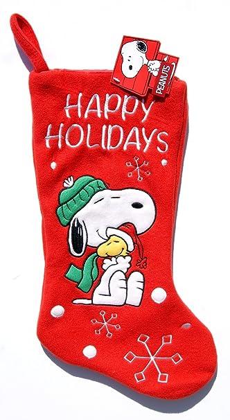 peanuts snoopy and woodstock happy holidays christmas stocking - Snoopy Christmas Stocking