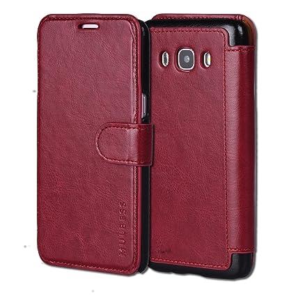 Mulbess Samsung Galaxy J5 (2016) / J5 (2016) Duos hülle Wein Rot,Ledertasche für Samsung Galaxy J5 2016 / J5 2016 Duos [5,2 Z