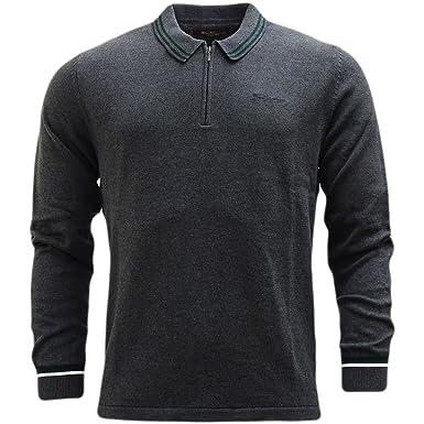 eb3924051 Ben Sherman Knitted Long Sleeve Polo Shirt - 48618  Amazon.co.uk  Clothing