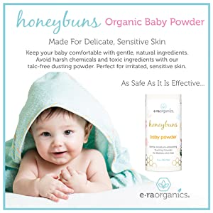 Image: Talc Free Baby Powder | USDA Certified Organic Dusting Powder | Made by Honeybuns | Non-GMO, Cruelty Free, Natural and Organic Baby Products