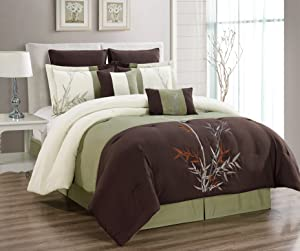 """Masterplay 8 Piece Oversize Brown/Beige/Sage Green Tropical Bamboo Tree Embroidered Luxury Comforter Set Queen Size Bedding 94""""X92"""""""