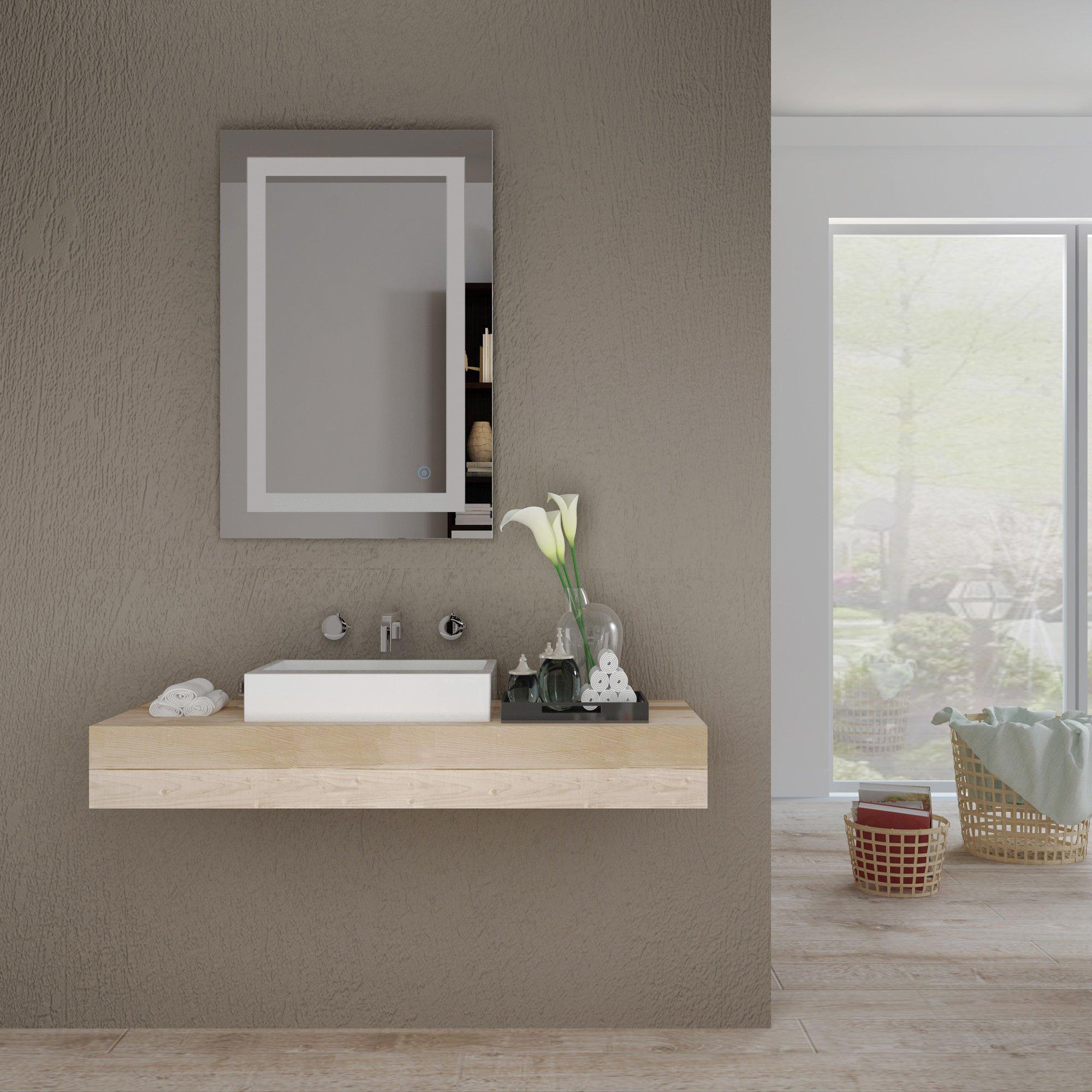 Home sceva led lighted mirrors vanity bathroom frameless - Illuminated wall mirrors for bathroom ...