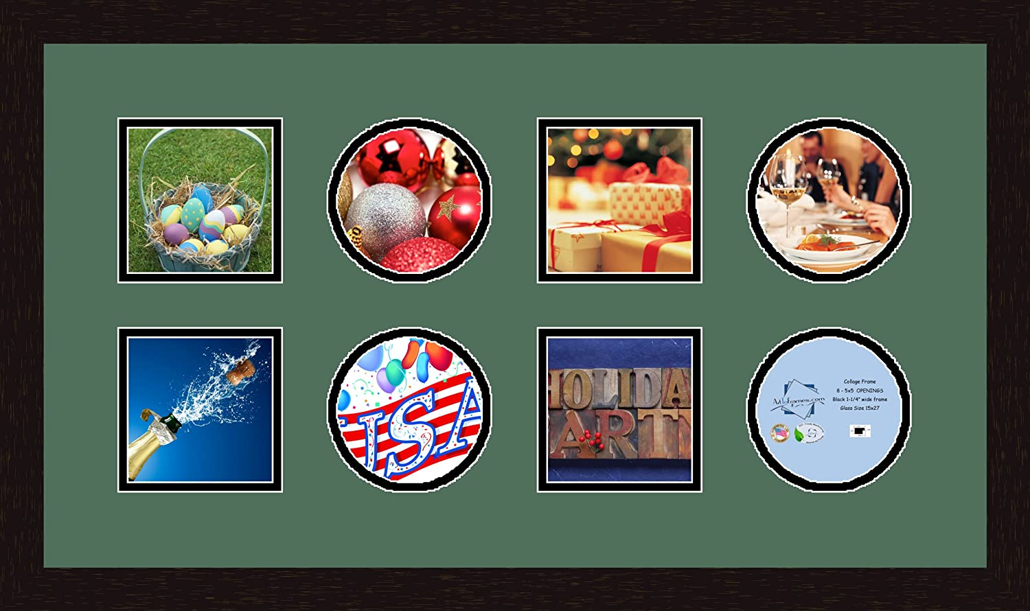 Art to Frames Double-Multimat-700-865//89-FRBW26061 Collage Frame Photo Mat Double Mat with 8-5x5 Openings and Espresso Frame
