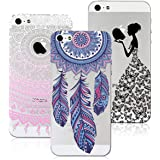 3x Coques,VertTek 3 en 1 Coque Apple iPhone SE, Etui iPhone 5S,iPhone 5 Étui TPU Silicone Souple Coque Clair Transparent Cover Ultra Mince Gel Doux Soft Case Housse Protection Anti Rayures Motif Mandala Pink + Dearmcather Bleu + Filles Papillon