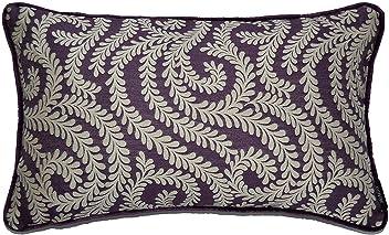 "McAlister Woven Little Leaf Oblong 12x18"" Pillow Cover | Aubergine Purple Decor Lumbar Cushion Case | Geometric Damask Flower Vine Floral | Chinoiserie Shabby Chic Modern Accent"