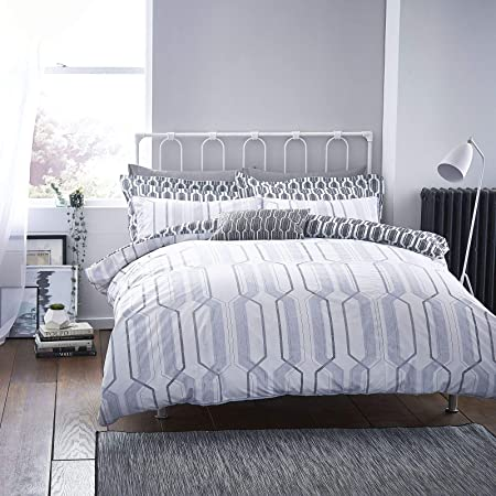 Bianca Geo Print Duvet Set Grey Super King Size Amazon Co Uk