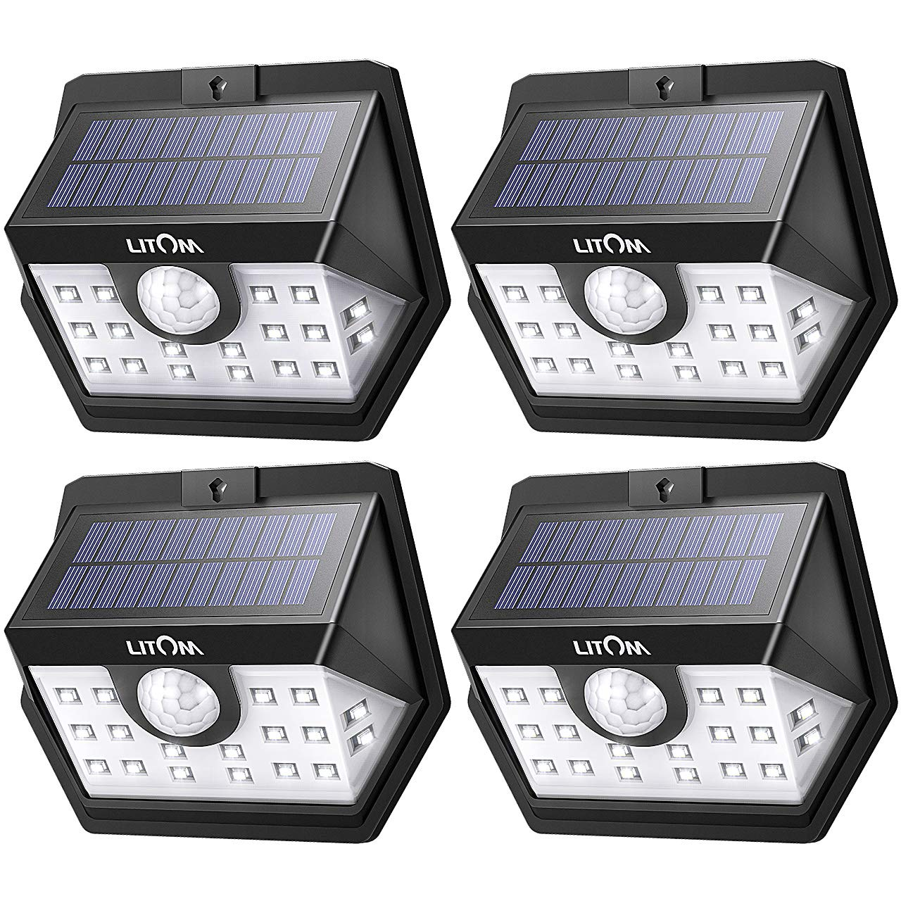 LITOM Basics Solar Lights Outdoor, Wireless Solar Motion Sensor Lights(White Light), 270° Wide Angle, IP65 Waterproof, Easy-to-install Security Lights for Front Door, Yard, Garage, Deck, Porch-4 Pack