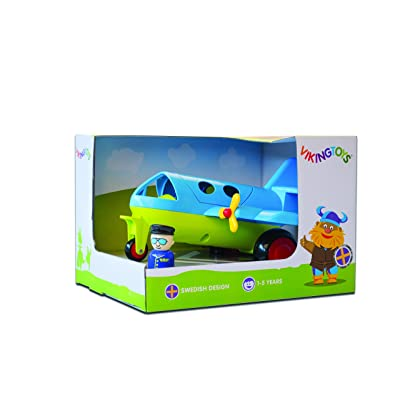 "Viking Large Fun Color Jet Plane 10"" with Removable Pilot & Passenger & Extra Seats! - Dishwasher Safe - Indoor & Outdoor Use - Ages 12 Months and Up: Toys & Games"