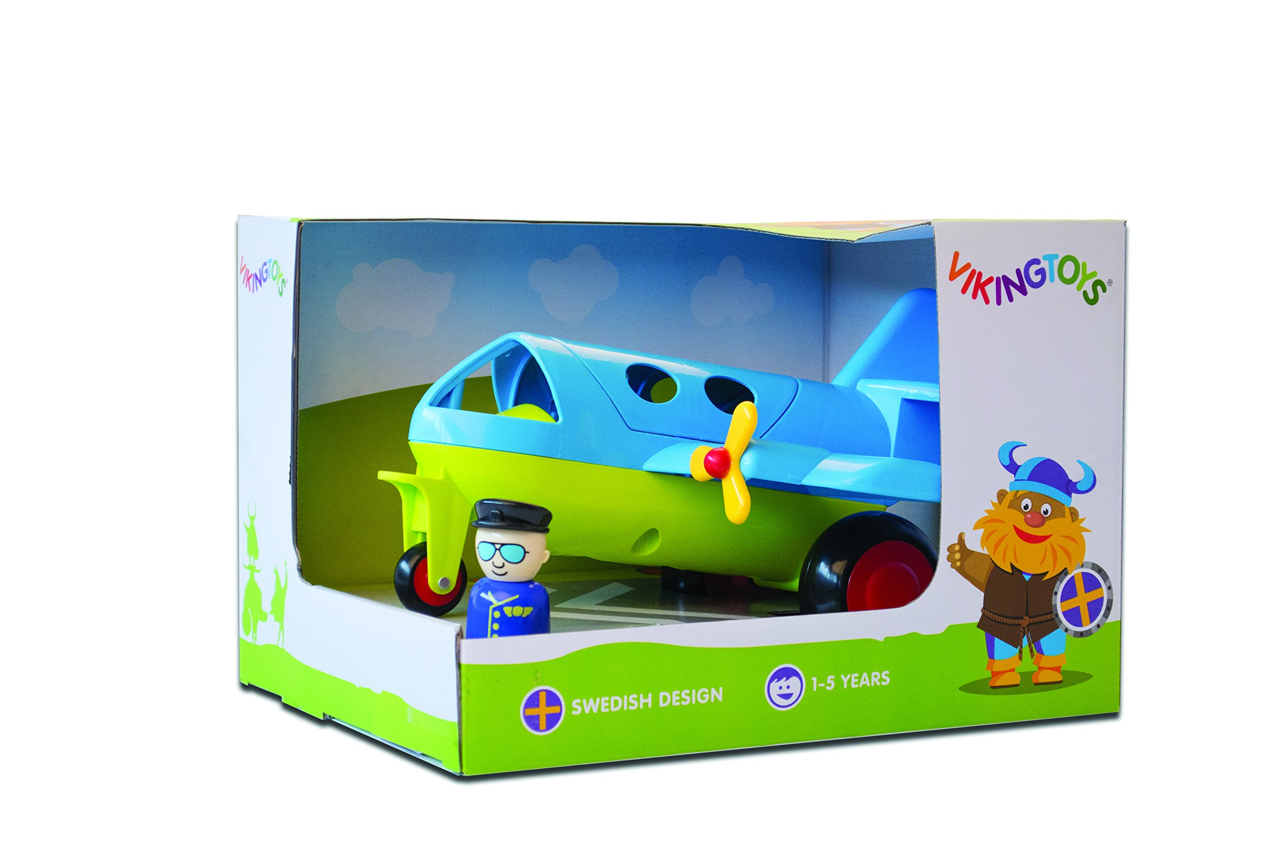 Viking Large Fun Color Jet Plane 10'' with Removable Pilot & Passenger & Extra Seats! - Dishwasher Safe - Indoor & Outdoor Use - Ages 12 Months and Up