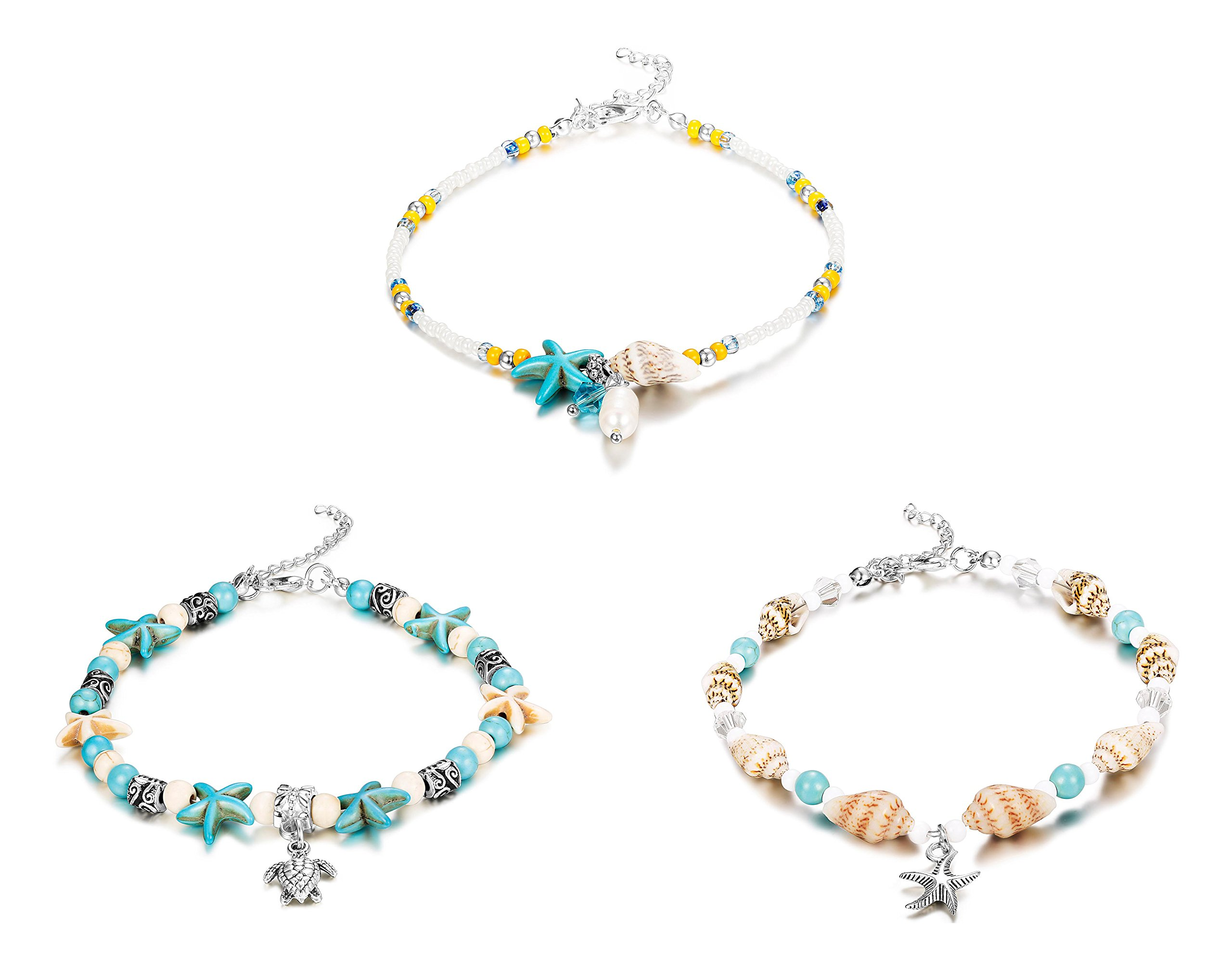 """Finrezio 3Pcs Ankle Bracelets for Women Girls Bead Anklet Starfish Turtle Turquoise Stone Boho Beach Anklets Foot Chain Jewelry """"Ocean Series"""""""