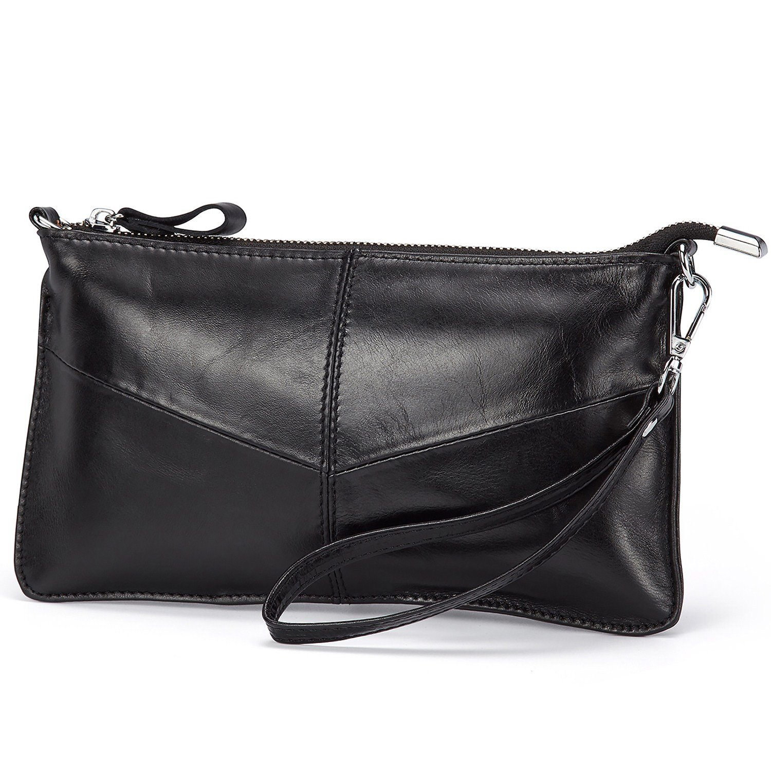 Lecxci Leather Crossbody Purses Clutch Phone Wallets with Card Slots for Women (Wax leather, Black)