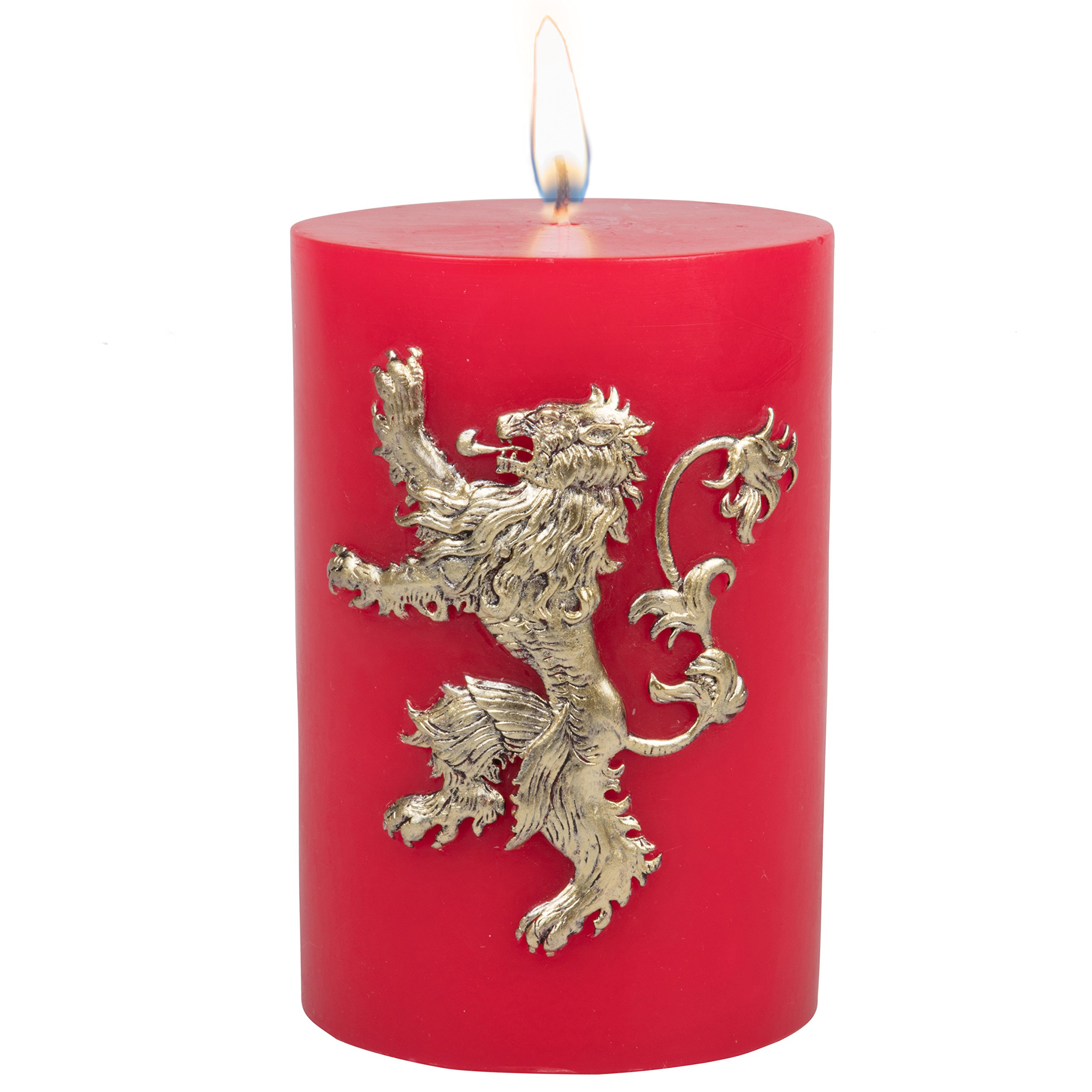 Game of Thrones Candle - House Lannister Insignia Sculpted Pillar Candle - Multi Use Candle With 80 Hour Burn Time - Perfect Gift for the GoT Fan - Unscented - 6''h