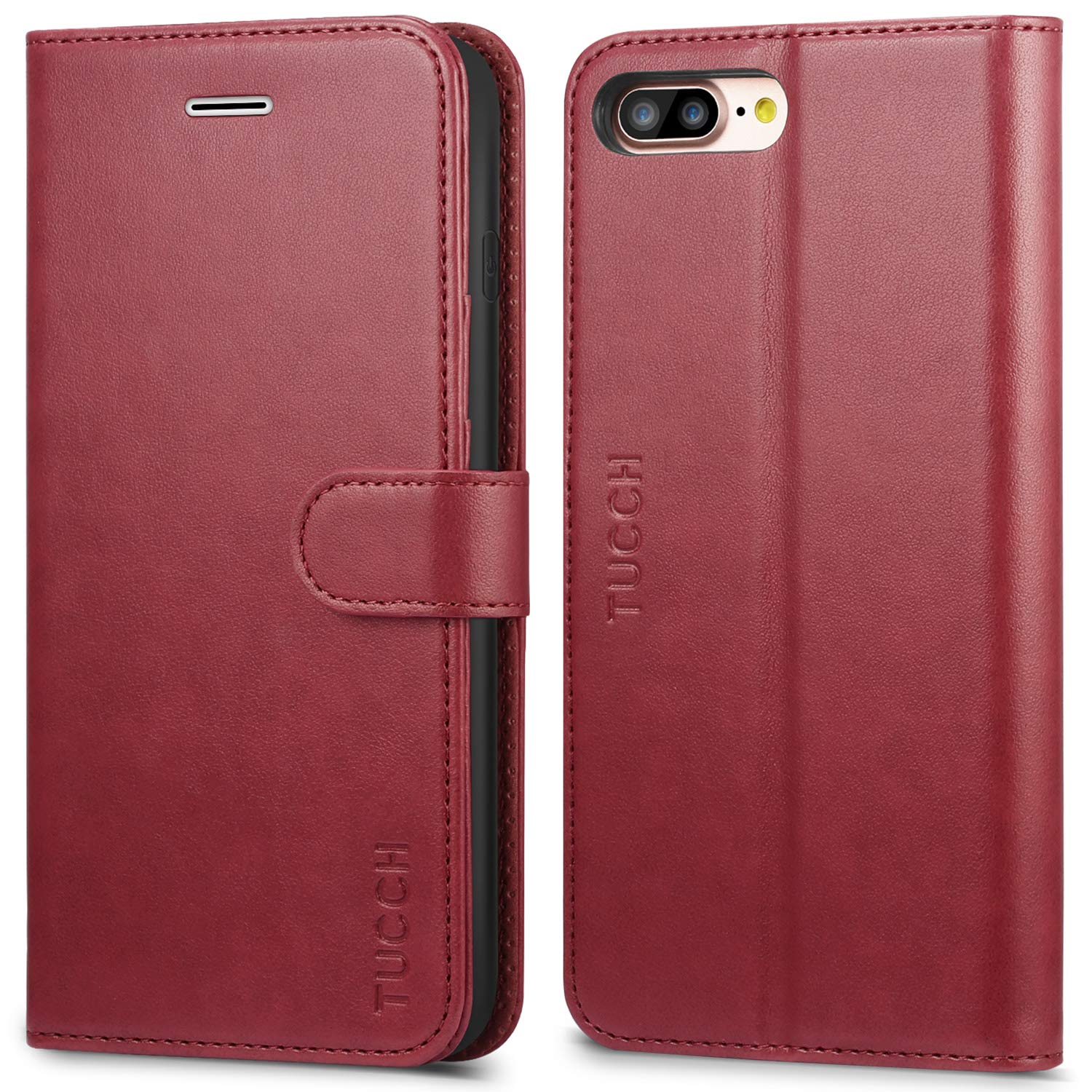 competitive price c2579 3bbd3 TUCCH iPhone 8 Plus Wallet Case, iPhone 7 Plus Case [Card Slot] Leather  Flip Wallet Phone Case for iPhone 8 Plus / 7 Plus (5.5 Inch), Red