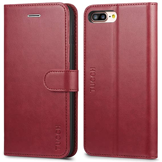 competitive price 2662f 49e8b TUCCH iPhone 8 Plus Wallet Case, iPhone 7 Plus Case [Card Slot] Leather  Flip Wallet Phone Case for iPhone 8 Plus / 7 Plus (5.5 Inch), Red