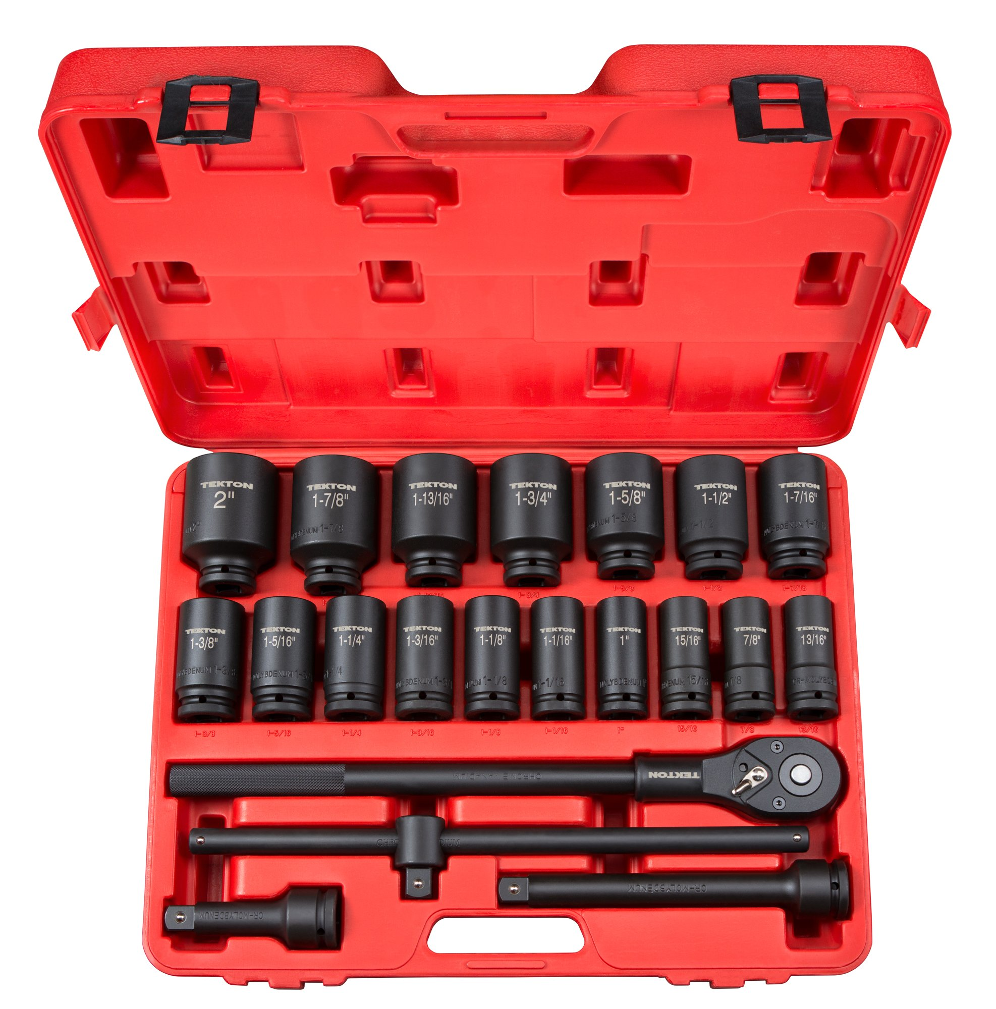 TEKTON 3/4-Inch Drive Deep Impact Socket Set, Inch, Cr-Mo, 7/8-Inch - 2-Inch, 22-Piece   48995