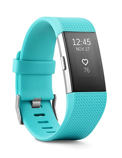 amazon com fitbit charge 2 heart rate fitness wristband teal