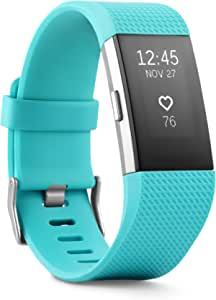 Fitbit Charge 2 Heart Rate Fitness Wristband, Teal, Large