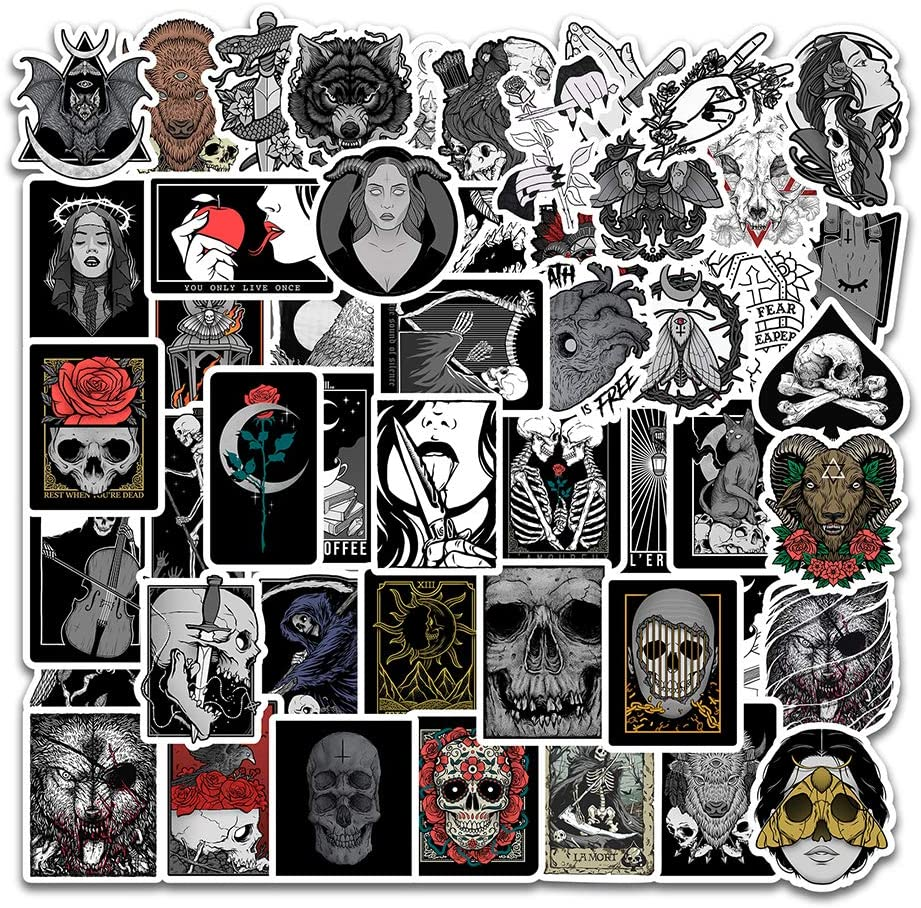 Trippy Gothic Sticker Pack of 50 Stickers Gothic Skull Decals for Laptops Hydro Flasks Water Bottles Luggage