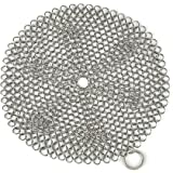 "Engdash Cast Iron Cleaner 316 Stainless Steel Chainmail Scrubber for Cookware, 8"" Diameter Large"