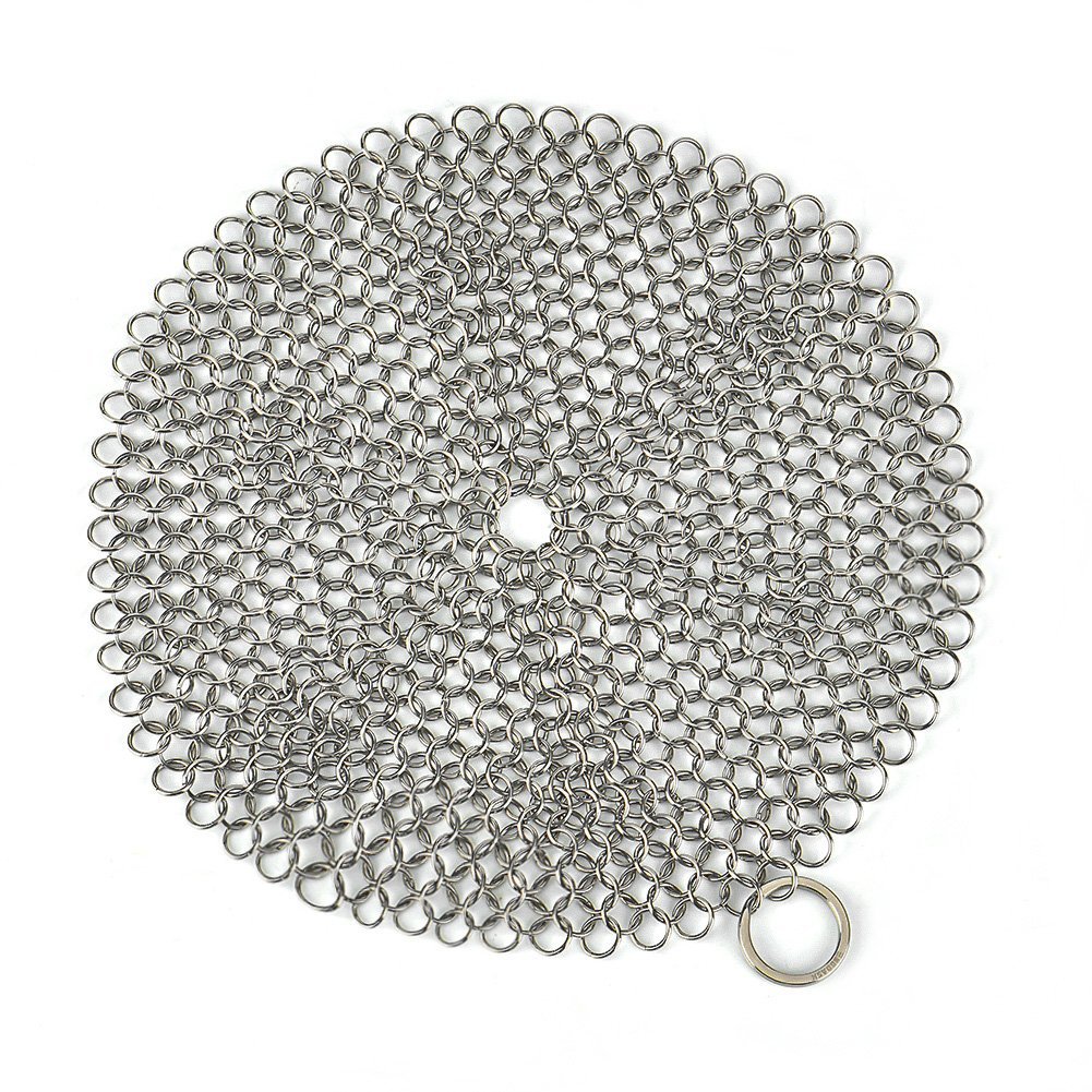 Engdash Cast Iron Cleaner 316 Stainless Steel Chainmail Scrubber for Cookware, 8'' Diameter Large