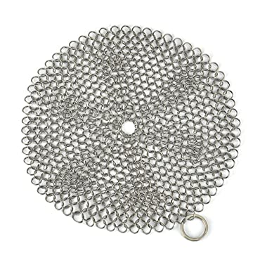 Engdash Cast Iron Cleaner 316 Stainless Steel Chainmail Scrubber for Cookware, 8  Diameter Large