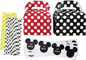 Birthday Party Kit - 16 Gable Treat Boxes - 16 Mickey Inspired Mouse Ear Vinyl Chalkboard Labels - 50 Paper Straws - Red Black Yellow White