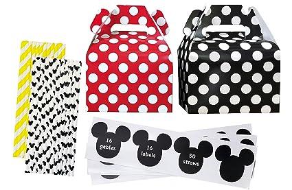 Amazon Com Mickey Mouse Theme Party Kit 16 Gable Treat Boxes 16