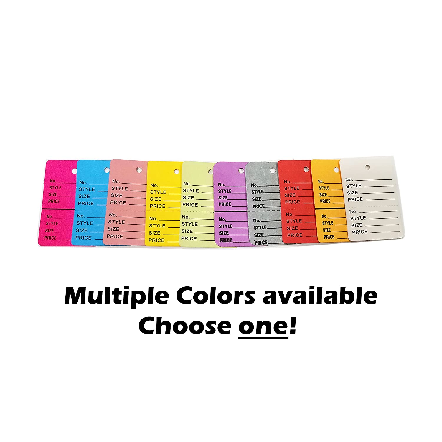 1000 Two-Part Number, Style, Size & Price Perforated Coupon Tags - 1.25' x 1.875', Fluorescent Pink Size & Price Perforated Coupon Tags - 1.25 x 1.875 Store Fixtures Direct