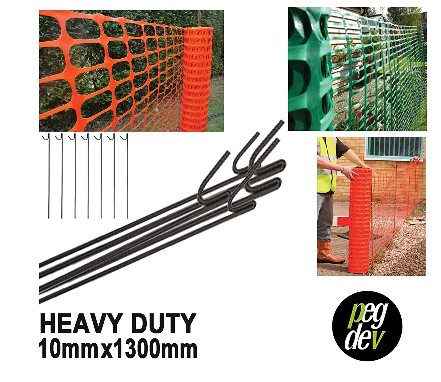 Metal Fencing PINS 10mm Steel Barrier Fence Stakes Event Road PIN 1300mm (15 PINS) PDL