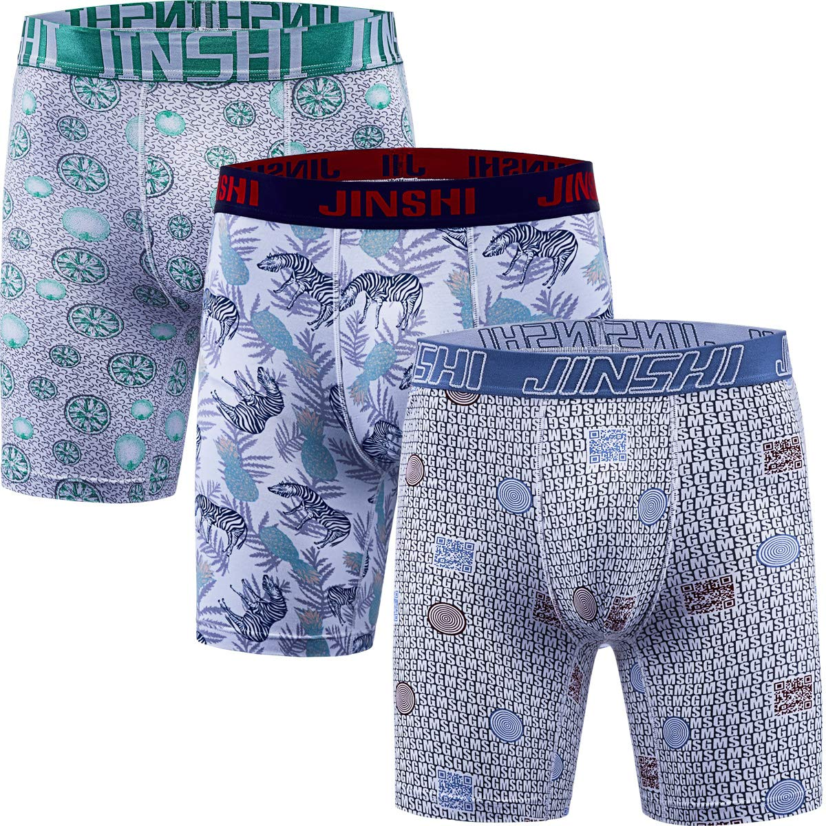 JINSHI Men's Underwear Bamboo Performance Long Boxer Briefs JSYHL-Printed