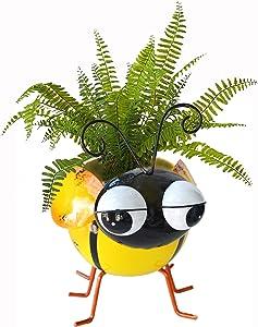 GIFTME 5 Metal Bee Garden Pot for Plants Indoor or Outdoor Decorations Succulent Cactus Flower Planter-7.5Inch