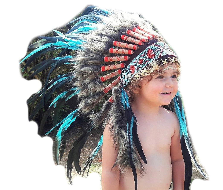 KARMABCN N12- Per i bambini da 2 a 5 anni bambini  cappello di piume indiana 20.5 pollici. - 52 cm