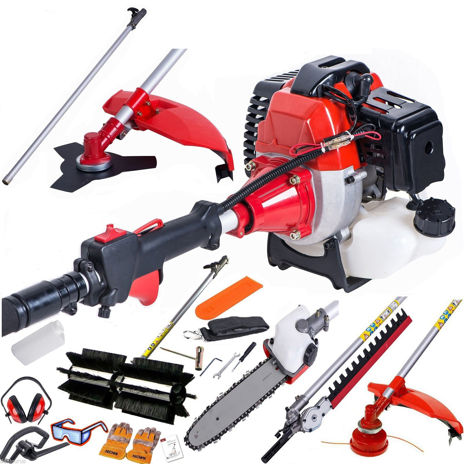 58cc 5 in 1 Garden Multi Tool Petrol Hedge Trimmer Strimmer Cutter Chainsaw
