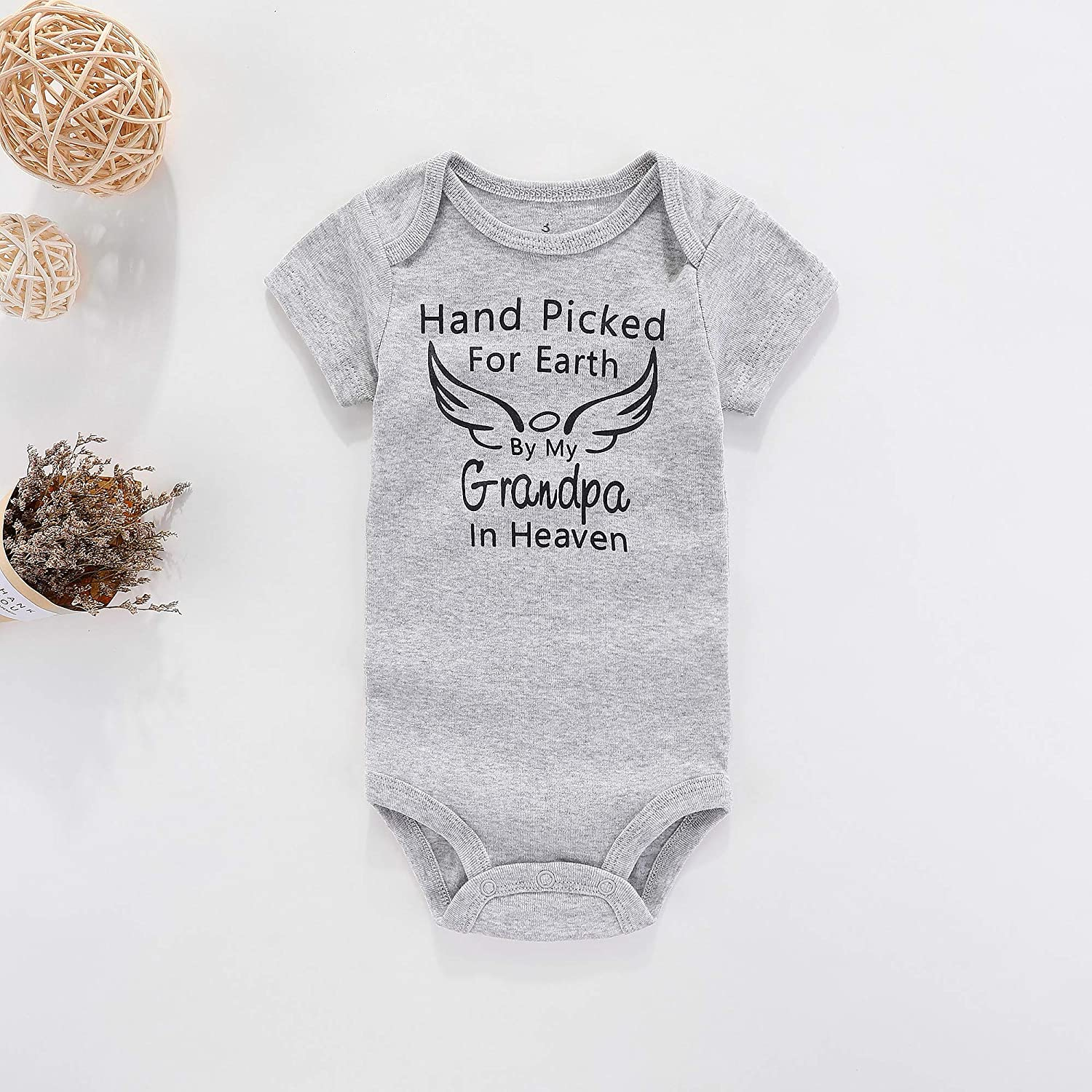 Amberetech Baby Romper Hand Picked for Earth by My Grandpa//Grandma in Heaven Baby Boys Girls Bodysuit