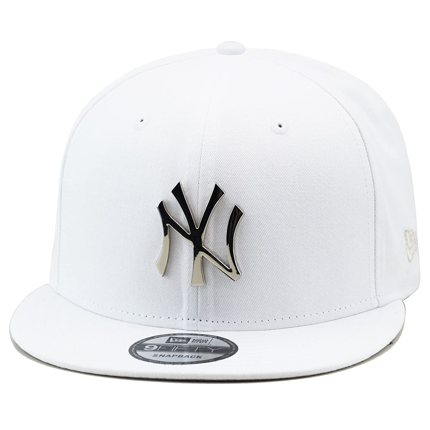 f562147a New Era 9fifty New York Yankees Snapback Hat Cap White/Silver Metal Badge