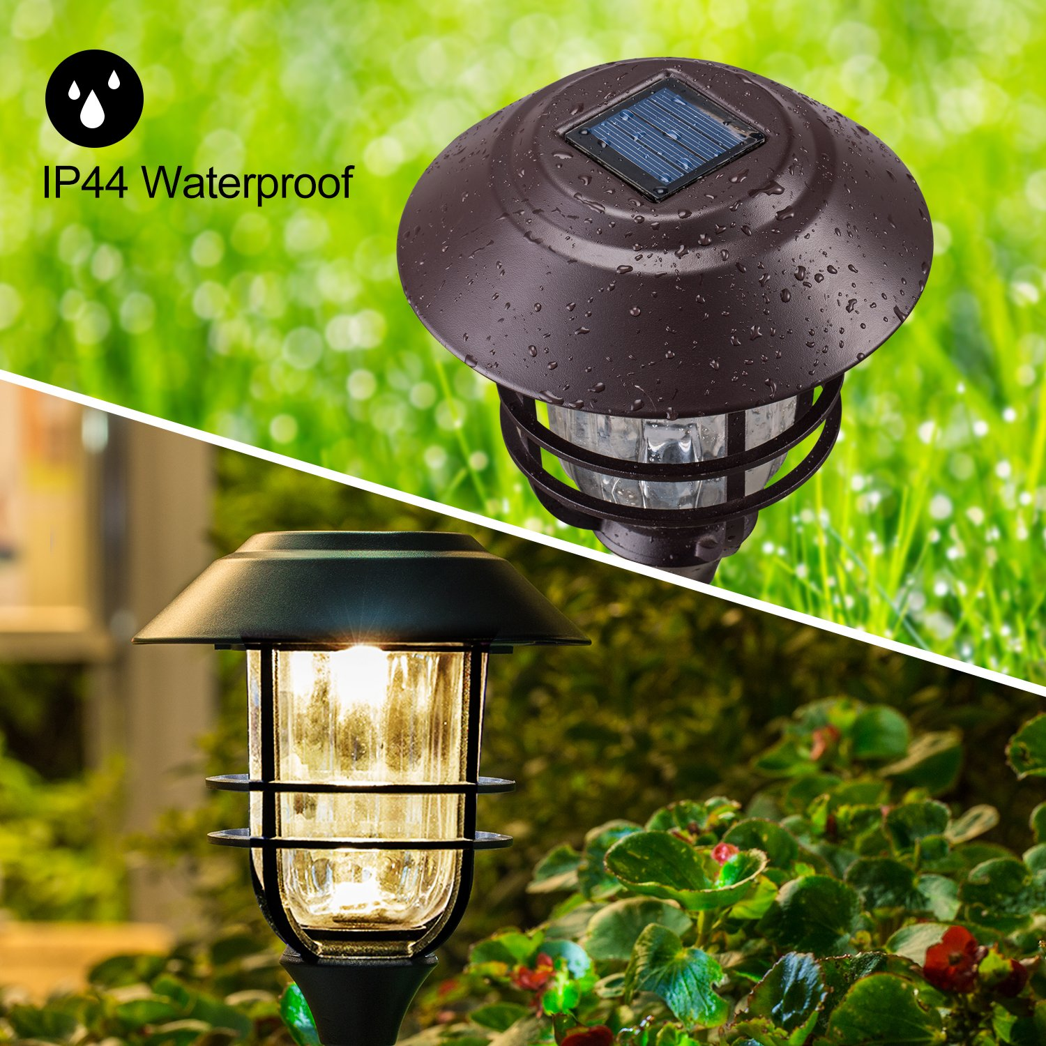 Solar Lights Outdoor Pathway - 4 Pack Bright Glass Solar Powered LED Garden Path Landscape Lighting Bronze Powder Coated Die Casting Aluminum Patio Path Lights Heavy-Duty for All Weather (Bronze) by Sunwind (Image #5)