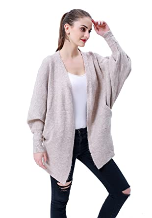 3d0e2854bc4de MEEFUR Women s Loose Fit Knitwear Batwing Sleeve Knit Cardigan Open Front V- Neck Rib Cuff