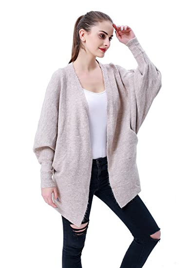 3f656fb2156 MEEFUR Women's Batwing Knit Cardigan Sweater Loose Fit Open Front V-Neck  Rib Cuff Knitwear Coat with Pockets