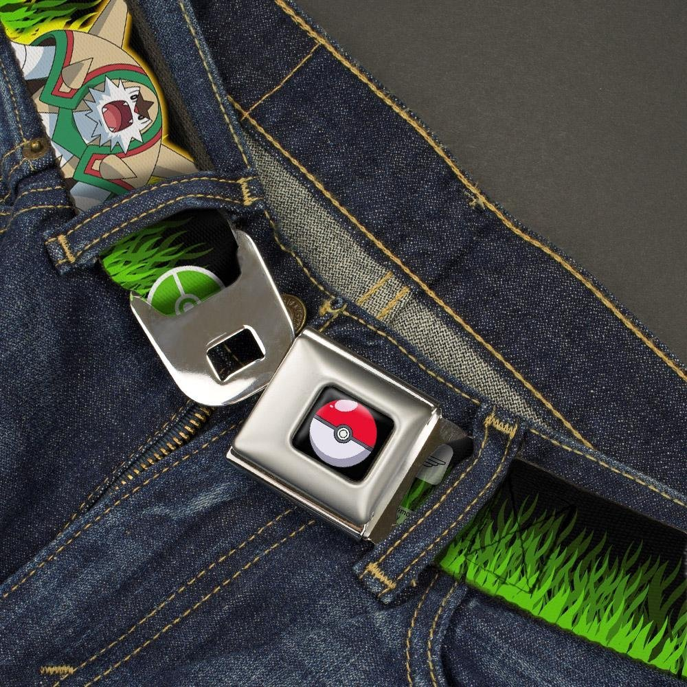 20-36 Inches in Length 1.0 Wide Chespin Evolution//Pok/é Ball//Grass Black//Greens Buckle-Down Seatbelt Belt