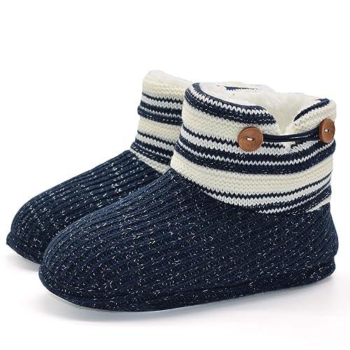 KuaiLu Botas De Punto De Lana para Mujer Botas De Piel Sintética Botines De Alta Zapatilla Superior Interior De La Casa Zapatos: Amazon.es: Zapatos y ...