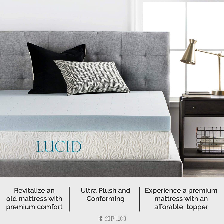 Lucid 4 Inch Gel Memory Foam Mattress Topper Ventilated For Optimum Temperature Queen Amazon In Electronics