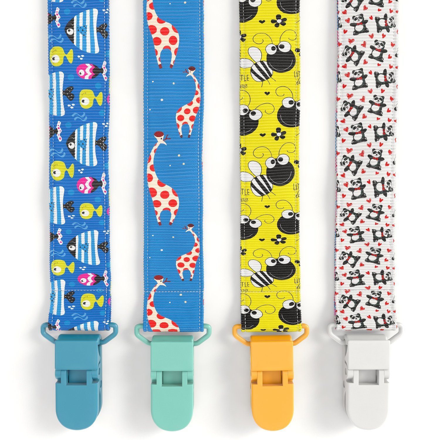 Premium Quality Baby Pacifier Clip (4 Pack) for Girls & Boys, Fun and Cute ,Extra Safe, Double-sided Leash Designs Glogex