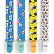 Premium Quality Baby Pacifier Clip (4 Pack) for Girls & Boys, Fun and Cute ,Extra Safe, Double-sided Leash Designs