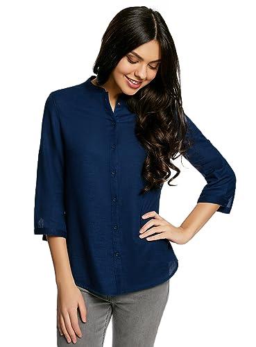 oodji Collection Mujer Blusa Básica de Algodón