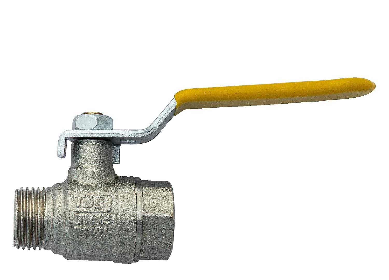 1//2 gaz robinet /à boisseau sph/érique femelle X m/âle BSP TF Jaune avec poign/ée /à levier