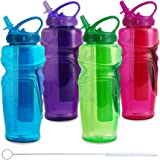 Cool Gear Ez Freeze Water Bottle, 32oz, Solstice - BPA Free - PVC Free - Phthalates Free, Includes Switx® Straw Cleaner - 4 Pack