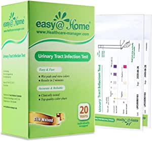 Easy@Home 20 Individual Pouches Urinary Tract Infection FSA Eligible Test Strips (UTI Test Strips) Monitor Bladder or Urinary Tract Issues by Testing Urine, 20 Tests/Box (UTI-20P)