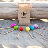 Set of 6 | Be Mindful Wood Egg and Spoon Race Game | Set of 6 Eggs and 6 Spoon Game | Includes Storage Bag perfect as a Birthday Party Game or Outdoor games