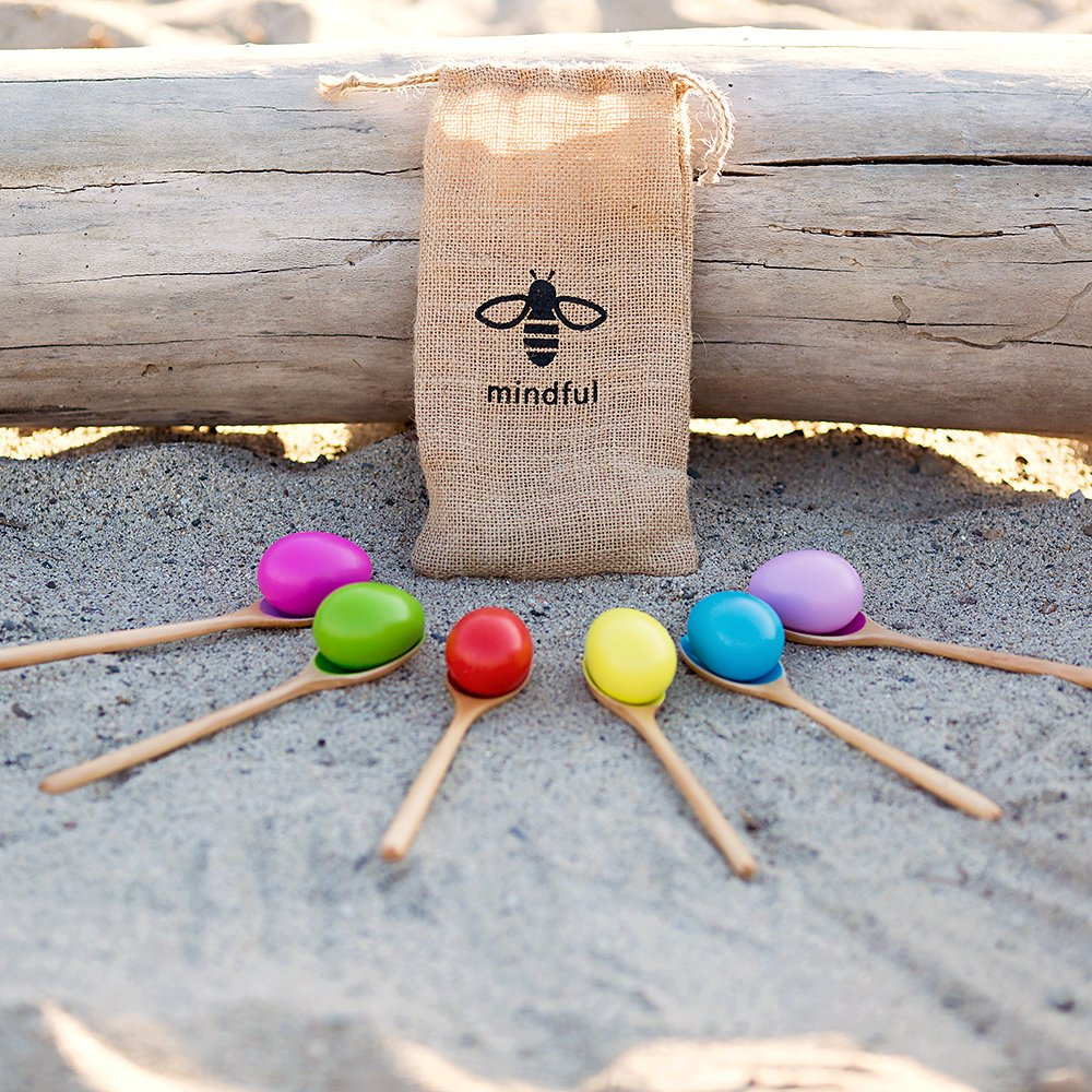 Set of 6 | Be Mindful Wood Egg and Spoon Race Game | Set of 6 Eggs and 6 Spoon Game | Includes Storage Bag perfect as a Birthday Party Game or Outdoor games by Be Mindful